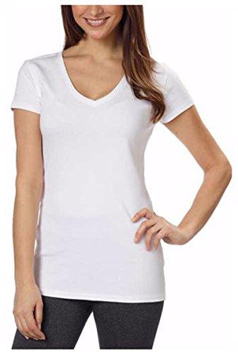 Kirkland Signature Women's Cotton V-Neck T-Shirts (Size XL, Color White)