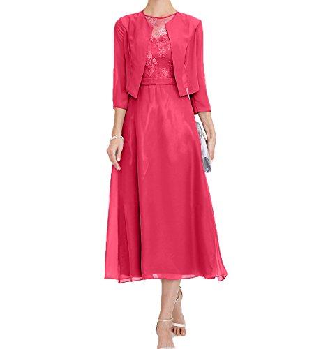 Festlichkleider Wadenlang Brautmutterkleider Wassermelon Charmant Damen Kleider Damen Abendkleider Mutterkleider Jugendweihe fWwOa