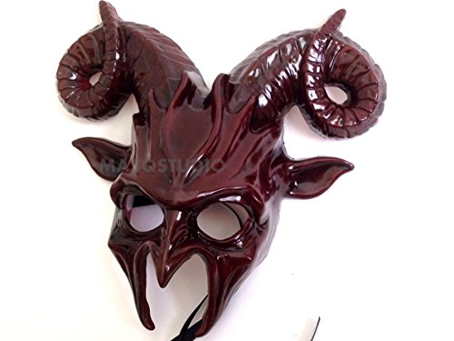 (MasqStudio Dark Burgundy Red Goat Mask Animal Ram Masquerade Halloween Cosplay Big Horns mask )