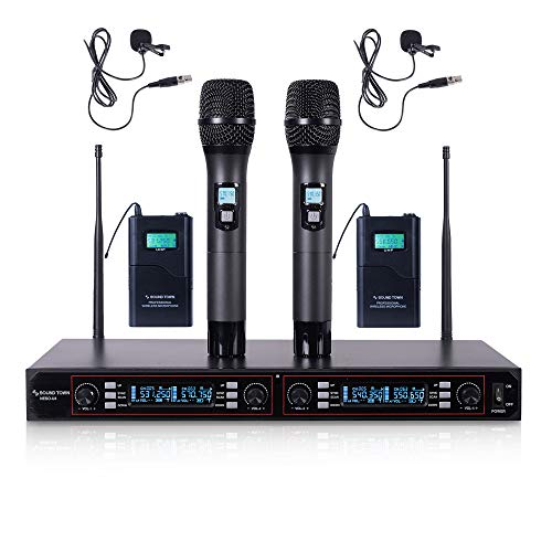 (Sound Town 200-Channel Rack Mountable Professional UHF Wireless Microphone System with Metal Receiver, 2 Handheld Mic, 2 Lavalier Mic, 2 Bodypack Transmitter (NESO-U4HL) )