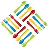Plaskidy Kids Utensils, Set of 8 Kids Forks and 8 Kids Spoons - BPA Free Kids Silverware - Brightly Colored Kids Plastic Cutlery Set, Dishwasher Safe, Great for Kids and Toddler Utensils