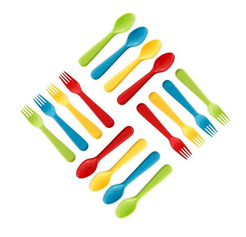 (Plaskidy Plastic Toddler Utensils Set 8 Kids Forks and 8 Kids Spoons - BPA Free/Dishwasher Safe Toddler Silverware Brightly Colored Kid Plastic Cutlery Set, Great for Kids and Toddlers Utensils)