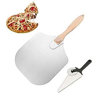 Pizza Accessori, Parkarma Pala per Pizza 12×14 Pollici Alluminio Pala di Trasferimento Manico in Legno con Manico…
