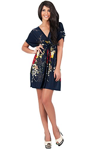 KOH KOH Plus Size Womens Floral Print Summer Kimono Sleeve V-Neck Sexy Beach Mini Dress Vintage Flower Casual Day Out Comfortable Dresses, Color Navy Blue