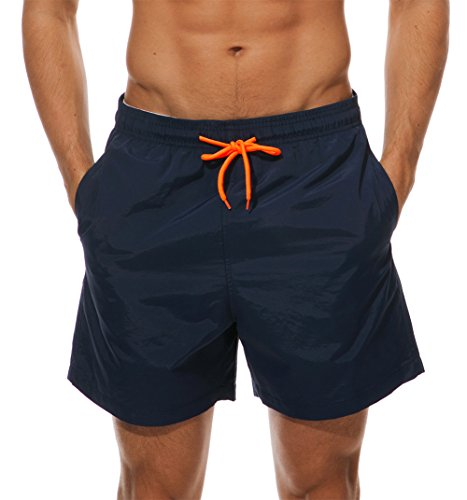 WENER Men's Short Swim Trunks,Best Board Shorts Sports Running Swimming Beach Surfing,Quick Dry Breathable Mesh Lining (Navy Blue, US Size Large (Fits Waist:34.6''-38.5'',Tag XXL)) by WENER