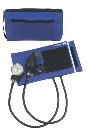Aneroid Sphygmomanometer Blue Nylon Cuff - MABIS MatchMates Aneroid Sphygmomanometer Manual Blood Pressure Monitor Kit with Calibrated Nylon Cuff and Carrying Case, Royal Blue