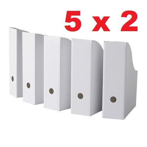 Royal 10 White Magazine File Holders Storage Boxes 12 1/4'H x 3 1/2'W x 9 3/4'D