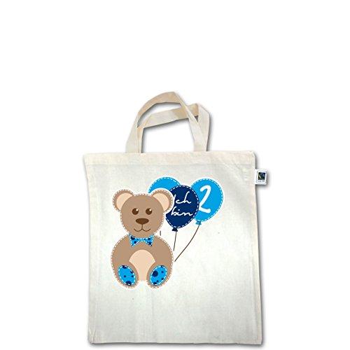 Geburtstag Kind - Ich bin 2 Junge Bär Luftballons - Unisize - Natural - XT500 - Fairtrade Henkeltasche / Jutebeutel mit kurzen Henkeln aus Bio-Baumwolle