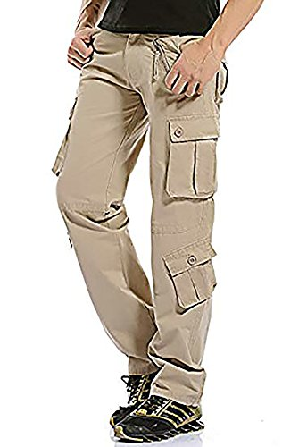 MAGE MALE Men's Cargo Work Pants Tactical Cotton Casual Combat Military Trousers with 8 Pocket Light Khaki
