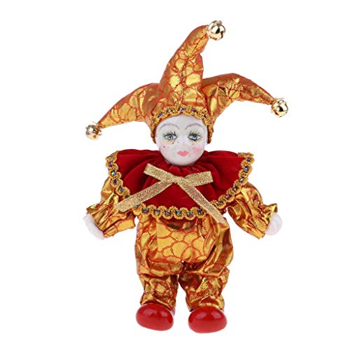 FRECI Clown Doll Porcelain Triangel Doll Harlequin Doll Model Kids Daily Toys for Christmas, Birthday Gift 6inch - Red