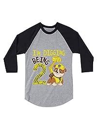 Tstars Paw Patrol Rubble Digging 2nd Birthday 3/4 Sleeve Baseball Jersey Toddler Shirt