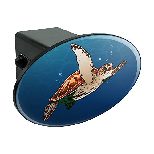 Sea Turtle Swimming in Ocean Oval Tow Hitch Cover Trailer Plug Insert 2