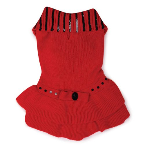 East Side Collection Acrylic Scarlet Knit Dog Dress, Medium, 16-Inch, Red, My Pet Supplies