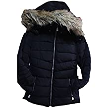 New YMI fashion fur lining black color J1336 puffer jacket coat-ML (M)