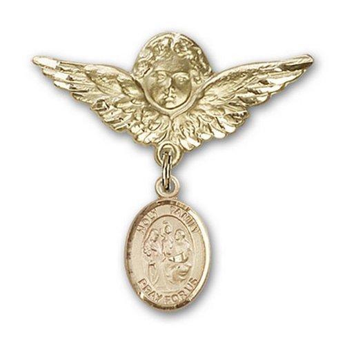 Icecarats Broches Badge Charme Saint Ange De La Famille De L'Or De Bijoux De Créateurs Rempli 1 1/8 X 1 1/8