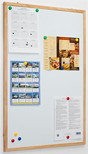 Displays2go Magnetic Whiteboard with 34 X 22 Inches Writing Space and Finished Pinewood Frame Dry-Erase Board, Wall Mount Write-On Display with Hooks (SVWMW6090)