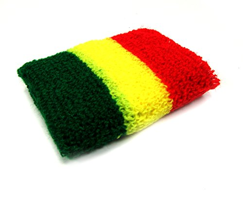 Rasta Bandana Rasta Sweatband Elbow Sweat Band Rasta Sweatband Rasta Mens Womens Rasta Bandana Set (Rasta-2)