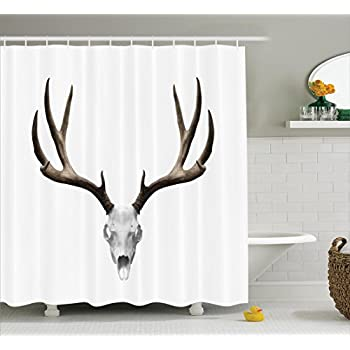 Antlers Decor Shower Curtain Set By Ambesonne, A Deer Skull Skeleton Head Bone Halloween Weathered Hunter Collection, Bathroom Accessories, 69W X 70L Inches