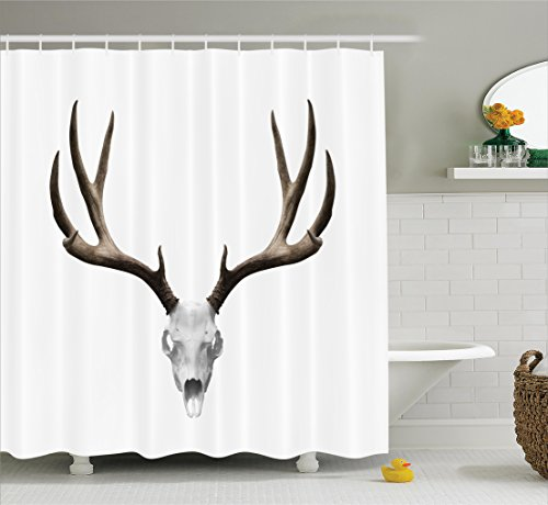 Antlers Decor Shower Curtain Set By Ambesonne, A Deer Skull