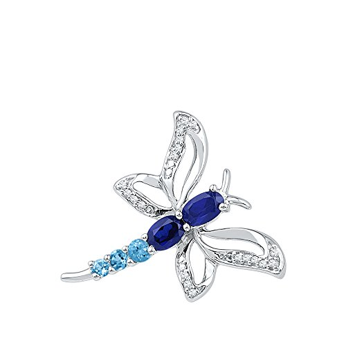 Jewel Tie 10k White Gold Oval Round Blue Simulated Sapphire And White Diamond Butterfly Dragonfly Pendant (.06 cttw.)