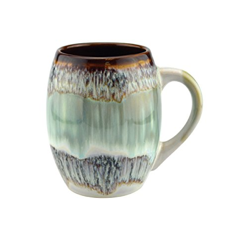 (Mug Creative Glazed Ceramic Coffee and Tea Cup with Handle - Gorgeous Artistic Unique Design Coffee Mugs 20 oz (Turquoise, 1))