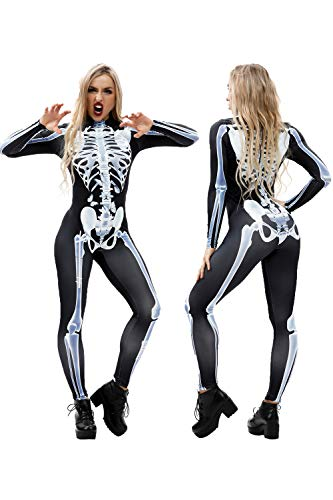 Youmay Womens Halloween Skeleton 3D Print Vampire Costume Bone Skull Skinny Catsuit Jumpsuit (Medium, White -