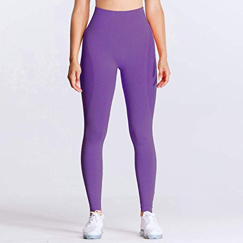 Aoxjox Seamless Leggings for Women Smile Contour High Waist Workout Yoga Pants (Violet Marl, X-Small)