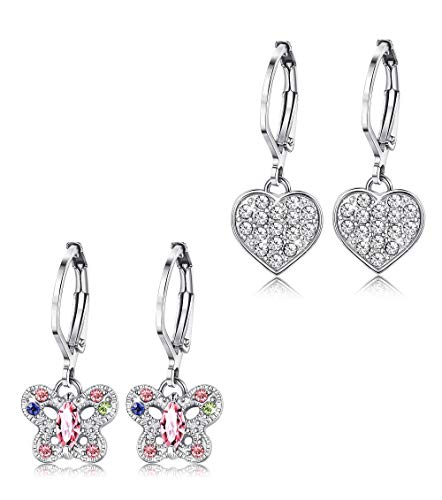 ORAZIO Earrings for Girls Heart Butterfly Drop Dangle Earrings for Kids Baby Leverback]()