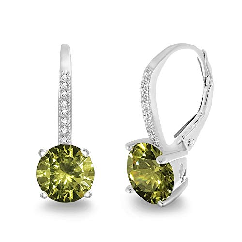 LESA MICHELE Round Green Simulated Peridot & CZ Drop Leverback Bridal Gift Earrings for Women in Rhodium Plated 925 Sterling Silver (Imitation August Birthstone)