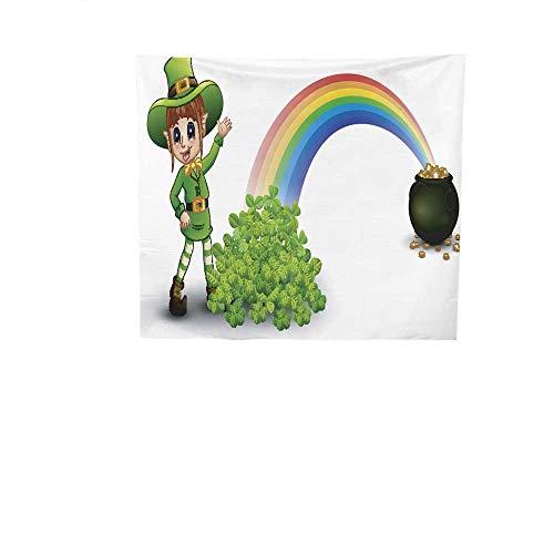 Dormitory tapestry Cartoon.jpg girl.jpg leprechaun.jpg standing.jpg near.jpg the.jpg rainbow.jpg with.jpg pot.jpg full.jpg of.jpg golden.jpg coins.jpg and.jpg clovers.jpg Art tapestry 70W x 70L In