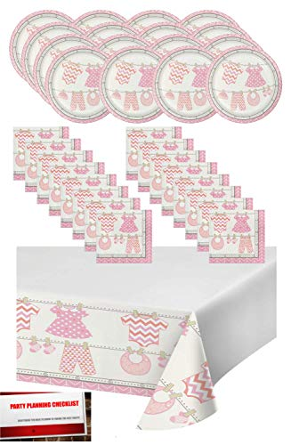 Pink Girl Baby Shower Party Supplies Bundle Pack for 16 - Plates, Napkins and Table Cover (Plus Party Planning Checklist by Mikes Super Store) (Girl Pink)]()