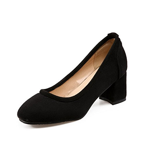 Allhqfashion Mujeres Kitten Heels Frosted Solid Pull On Square Cerrado Bombas-zapatos Negro
