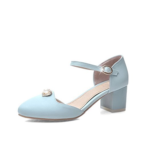 Allhqfashion Femmes Matériau Souple Métal Pointu Fermé Orteils Chaton-talons Sandales Solides Bleu