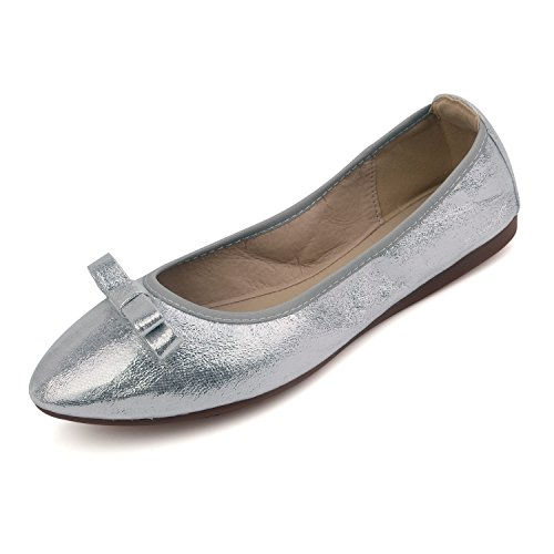 Flat Sparkly Shoes (HomeDay Women's Foldable Ballet Shoes Pointed Toe Slip On Flats With Bowknot (7.5 B(M) US,)