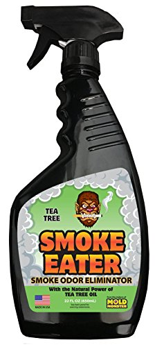 Smoke Eater - Breaks Down Smoke Odor at The Molecular Level - Eliminates Cigarette, Cigar or Pot Smoke On Clothes, in Cars, Boats, Homes, and Office - 22 oz Travel Spray Bottle (Tea Tree Oil) (Best Smoke Smell Remover)
