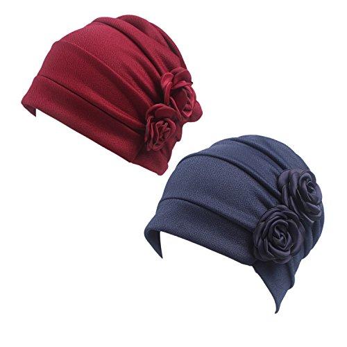 HONENNA Ruffle Chemo Turban Headband Scarf Beanie Cap Hat for Cancer Patient (Wine+Navy Blue) - Ruffle Cap