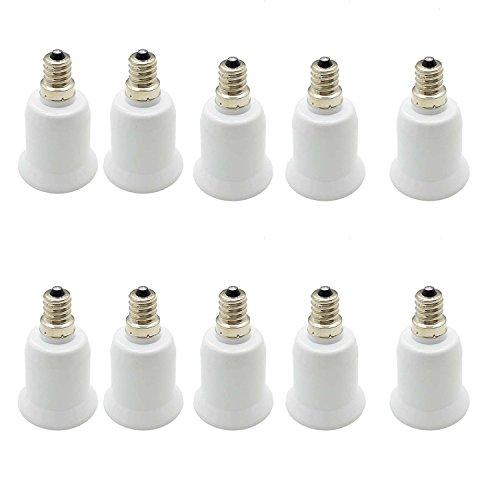 Pack of 10 E12 to E26/E27 light bulb Adapter,Chandelier Socket (E12) to Medium Socket (E26/E27) Converter For LED Light Lamp Bulb