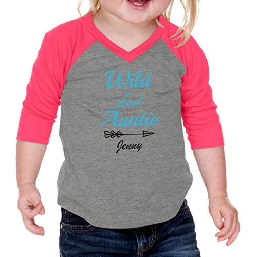 Personalized Custom Wild About Auntie Arrow Right Cotton/Polyester V-Neck Infant Raglan T-Shirt Baseball Jersey - Gray Hot Pink, 18 Months