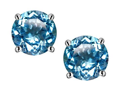 Star K Round 6mm Genuine Blue Topaz Screw Back Stud Earrings 14 kt White - Screw Topaz Blue