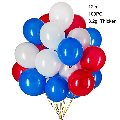 12Inch Red Blue White Patriotic Latex Balloons-100Pcs, Great for Patriotic Party Balloons,Birthday,Graduation,Patriotic Anniversary,Holidays,4th July Party Decorations -