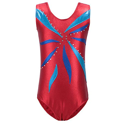 Kids Toddler Girls Metallic Leotard Gymnastics Ballet Dancewear Sleeveless One-Piece Shiny Sparkle Bodysuits Dance Competition Costume Unitard Jumpsuit Playsuit Costume Red 5-6 Years ()