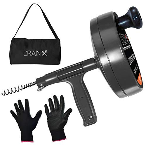 Drainx Pro Steel Drum Auger Plumbing Snake | Heavy Duty 25-Ft Drain Snake Cable with Work Gloves and Storage Bag