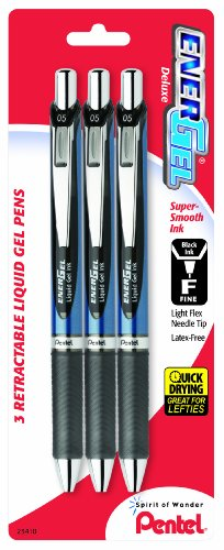 Pentel EnerGel Deluxe RTX Retractable Liquid Gel Pen, 0.5mm, Needle Tip, Black Ink, 3 Pen per Pack (BLN75BP3A) (Pentel Needle Tip Energel)