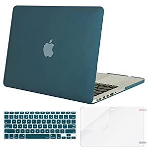 Mosiso Plastic Hard Case with Keyboard Cover with Screen Protector Only for MacBook Pro 13 Inch with Retina Display No CD-Rom (A1502/A1425, Version 2015/2014/2013/end 2012), Deep Teal