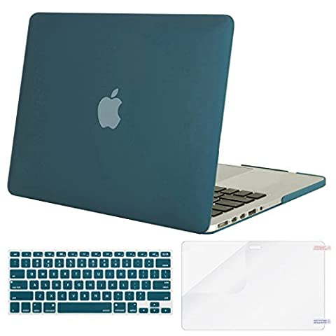Mosiso Plastic Hard Case with Keyboard Cover with Screen Protector Only for MacBook Pro 13 Inch with Retina Display No CD-Rom (A1502/A1425, Version 2015/2014/2013/end 2012), Deep (Macbook Pro Rubber Cover 13 Inch)