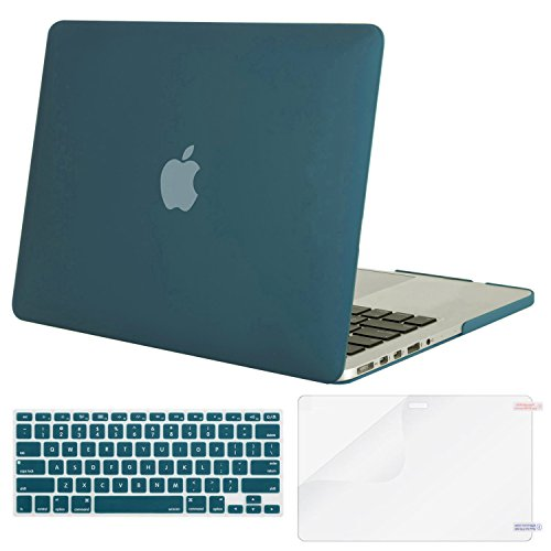 Green Plastic Case - Mosiso Plastic Hard Case with Keyboard Cover with Screen Protector Only for MacBook Pro Retina 13 Inch No CD-Rom (A1502/A1425, Version 2015/2014/2013/end 2012), Deep Teal