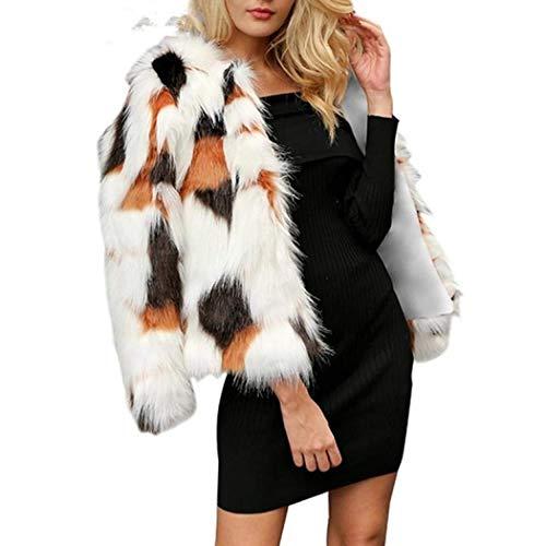 Women Warm Long Sleeve Parka Faux Fur Coat Overcoat Fluffy Top Jacket Leopard -
