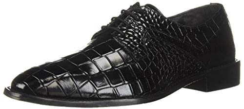 STACY ADAMS Men's Triolo Croc Lizard Print Lace-Up Oxford, Black, 11 M US