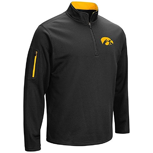 Colosseum Men's VF Poly Fleece 1/4 Zip Pullover-Iowa Hawkeyes-Black-Large ()