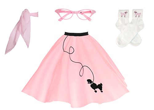Hip Hop 50s Shop Adult 4 Piece Poodle Skirt Costume Set Light Pink -